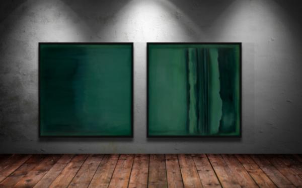 Emerald Blue II Diptych by artist susan stone, artbysusanstone