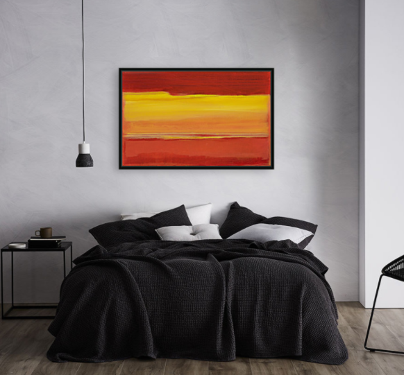 Framed abstract fine art print - red skies at night - by artist susan stone